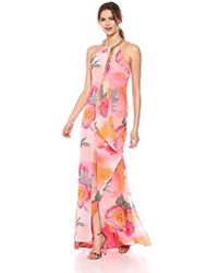 Calvin Klein - Halter Neck Gown With Draped Front & Beading - Lyst