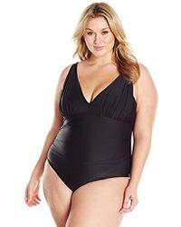 de032b6ed11 Coastal Blue - Plus Size Swimwear Shirred V-neck One Piece Swimsuit - Lyst