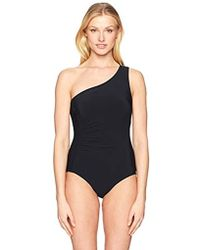 73f2e63d13 Carmen Marc Valvo - Shoulder One Piece Swimsuit With Smocking Detail - Lyst