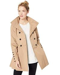 Calvin Klein - Double Breated Rain Coat With Pleated Skirt And Detachable Hood - Lyst