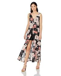 7470c3a068a Roxy Flowers Crown Maxi Overlay Romper in Black - Lyst