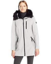 Calvin Klein - Softshell Anorak Jacket Lining And Faux Fur Trimmed Hood - Lyst