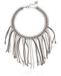 Guess - Nude Metals Fringe Choker Necklace, Silver, One Size - Lyst