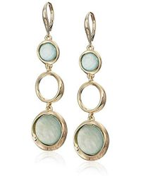 Kenneth Cole - Teal & Sculptural Circle Triple Drop Earrings, Teal, One Size - Lyst