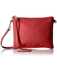 Lyst - Rebecca Minkoff Jon Leather Fringe Crossbody Bag in Red 1c6e2931416c6