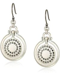 Lucky Brand - Brushed Pave Orbital Drop Earrings, Silver, One Size - Lyst