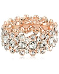 T Tahari - S Essentials Stretch Bracelet With Stones, Rose Gold/crystal, One Size - Lyst