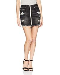 True Religion - High Rise Skirt With Zip Front - Lyst