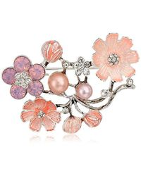 Napier - Multi Pearl Flower Brooches And Pin - Lyst