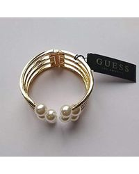 Guess - Hinged W/pearls Cuff Bracelet, Gold, One Size - Lyst