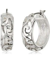 Napier - Silver-tone With Antique Small Hoop Earrings - Lyst