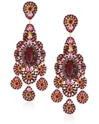 Miguel Ases - Mother-of-pearl And Rubellite Bead Embroidered Earrings - Lyst