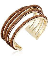 Cole Haan - Leather Items Inlay Wavy Cuff Bracelet - Lyst