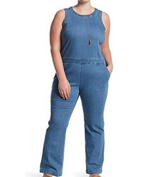 654f1238c7de Lyst - RACHEL Rachel Roy Strapless Denim Jumpsuit in Blue