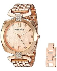 Ellen Tracy - Quartz Metal And Alloy Watch, Color Rose Gold-toned (model: Et5224rg) - Lyst
