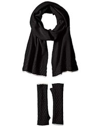 La Fiorentina - Cashmere Cable Beanie Scarf And Fingerless Glove Set - Lyst