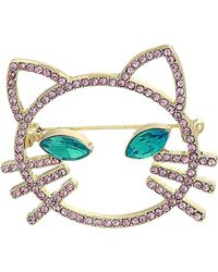 Betsey Johnson - S Pink Stone Open Cat Face Pin - Lyst
