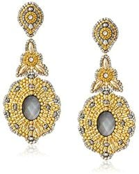 Miguel Ases - Long Golden Drop With Mother-of-pearl Center Earrings - Lyst