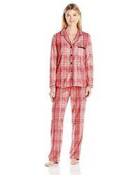 Ellen Tracy - Sueded Micro Fleece Notch Collar Pajama Set - Lyst