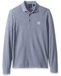 c2dbdac8 BOSS Long Sleeve Passerby Polo Shirt in Blue for Men - Save 20% - Lyst