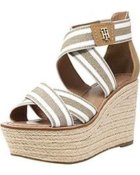 a04376a15 Lyst - Tommy Hilfiger Theia Wedged Sandal - 10m in Metallic