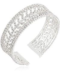 Anne Klein - Silver Tone With Crystal Pave Cuff Bracelet - Lyst