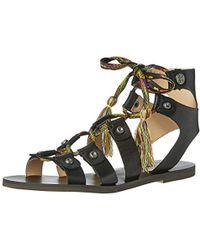 09661bd61bf0c Lyst - Guess Glando Gladiator Flat Thong Sandals in Black