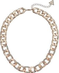 """Guess - S Chain Link Necklace With Pave Accents 16"""" With 2"""" Extender - Lyst"""