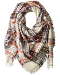 Steve Madden - S Classic Plaid Square Blanket Wrap With Etouch Glove Set - Lyst