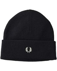 b5b54ba43 Fred Perry Merino Wool Beanie in Blue for Men - Lyst