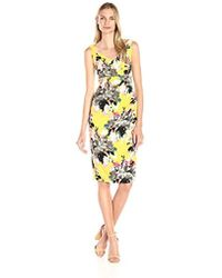 Maggy London - Peony Bouquet Printed Crepe Sheath Dress - Lyst