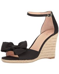 60b8e308e0 Lyst - Kate Spade Broome Bow Wedge Sandals in Black