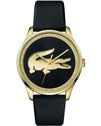 Lacoste - 'charlotte' Quartz Stainless Steel And Rubber Casual Watch, Color:black (model: 2000961) - Lyst