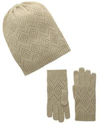 La Fiorentina - Cashmere Knit Pointelle Hat And Glove 2 Piece Set - Lyst