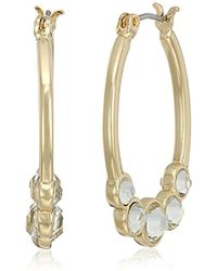 T Tahari - Oval Hoop With Crystal Bezel Set Stones - Lyst