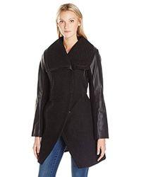 Betsey Johnson - Basket Weave Wool Coat With Pu Sleeve - Lyst