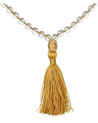 Satya Jewelry - Crystal And White Topaz Gold Om Yellow Tassel Mala Necklace 40-inch, One Size - Lyst