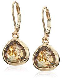 Anne Klein - Gold Tone Green Drop Earrings - Lyst