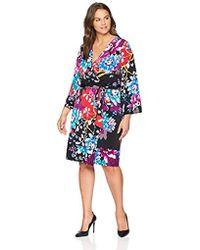 Calvin Klein - Plus Size Long Sleeve Wrap Dress With Self Tie - Lyst
