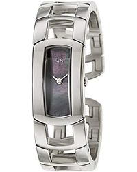 Calvin Klein - K3y2m11f 'dress' Black Mother Of Pearl Dial Stainless Steel Bangle Swiss Quartz Watch - Lyst