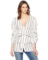 C/meo Collective - Diffuse Long Sleeve V Neck Striped Shirt Corset Tie Belt - Lyst