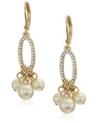 Anne Klein - Gold Tone Pearl Shaky Drop Earrings, Pearl, One Size - Lyst