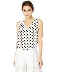 9c7a40b5d939ff Kasper - Sleeveless V-neck Blurred Dot Printed Blouse - Lyst