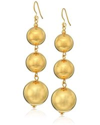 Kenneth Jay Lane - Polished Gold 3 Small To Large Bead Drop Fishook Top Ear Earrings - Lyst
