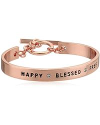 BCBGeneration - Bcbg Generation Rose Gold Crystal Happy Blessed Free Cuff Bracelet - Lyst