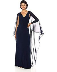 Calvin Klein - Cross Front V Neck Gown With Chiffon Caplet - Lyst