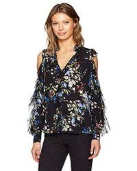 aca82c3c683725 Lyst - Parker Elana Floral Silk Cold Shoulder Top in Black