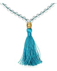 Satya Jewelry - Crystal And White Topaz Gold Om Light Blue Tassel Mala Necklace 40-inch, One Size - Lyst