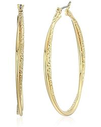 Napier - Gold-tone Textured Large Hoop Earrings, Gold - Lyst