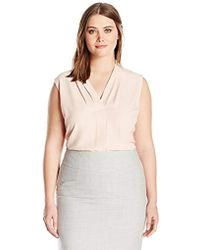 Calvin Klein - Plus Size Blouse W/inverted Pleat - Lyst